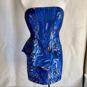 Bebe S Swirl Print Strapless Mini Dress Blue Black